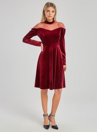 People By Fabrika Tül Detaylı Kadife Elbise Bordo